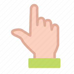 finger, hand, pointing, up icon