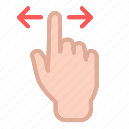 arrow, double, finger, hand, swipe icon