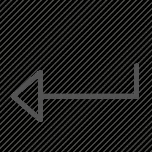 arrow, enter, left, sign icon