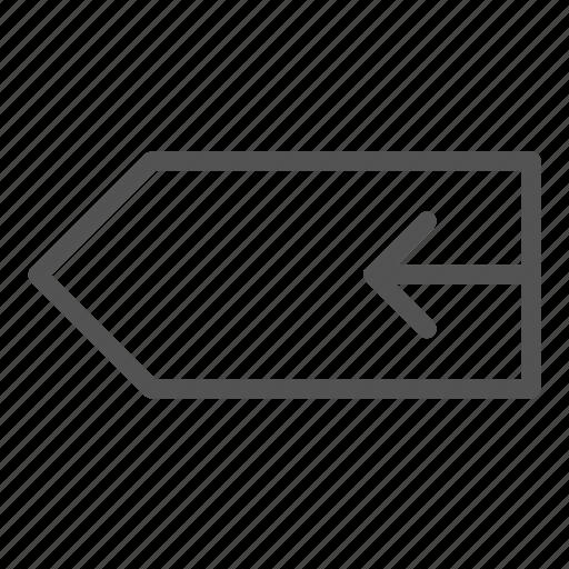 arrow, left, tag icon