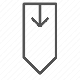 arrow, down, tag icon