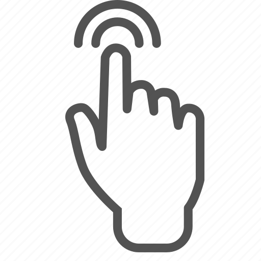 finger, hand, screen, signal, touch icon