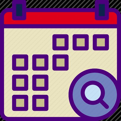 action, app, calendar, interaction, interface, search icon