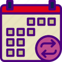 action, app, calendar, interaction, interface, sync icon