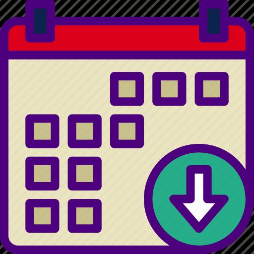 action, app, calendar, download, interaction, interface icon