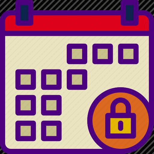 action, app, calendar, interaction, interface, lock icon