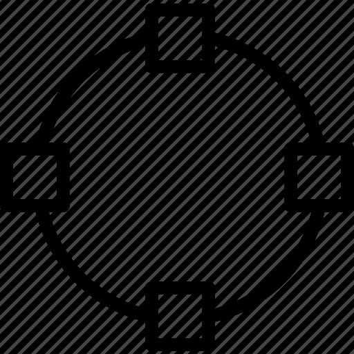 circle, divide, path icon
