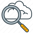 cloud, device, interface, internet, magnifier, search icon