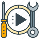 interface, screwdriver, service, settings, video, wrench icon
