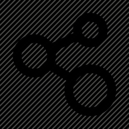 atom, chain, network, share, social media icon