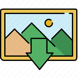 arrow, down, download, gallery, image, interface icon