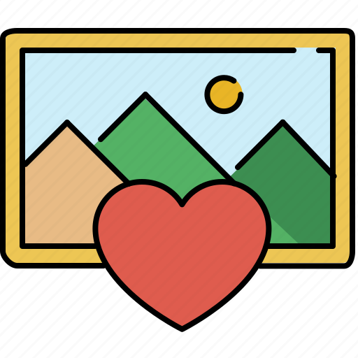 favourite, gallery, heart, image, interface icon