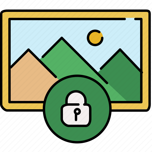 gallery, image, interface, lock, pin, privacy icon