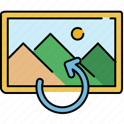 arrow, gallery, image, interface, rotate icon