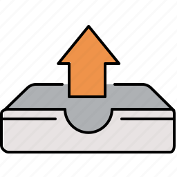 arrow, interface, tray, up, upload icon