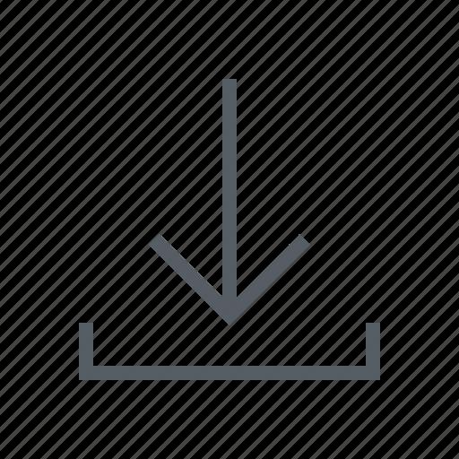 arrow, download, inbox, interface icon