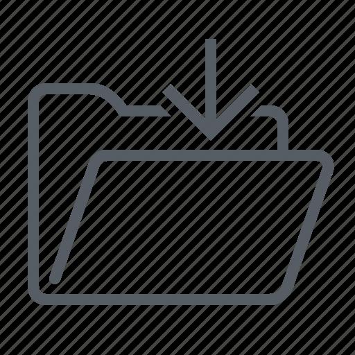 arrow, folder, in, inside, interface icon