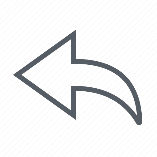 arrow, interface, reply icon