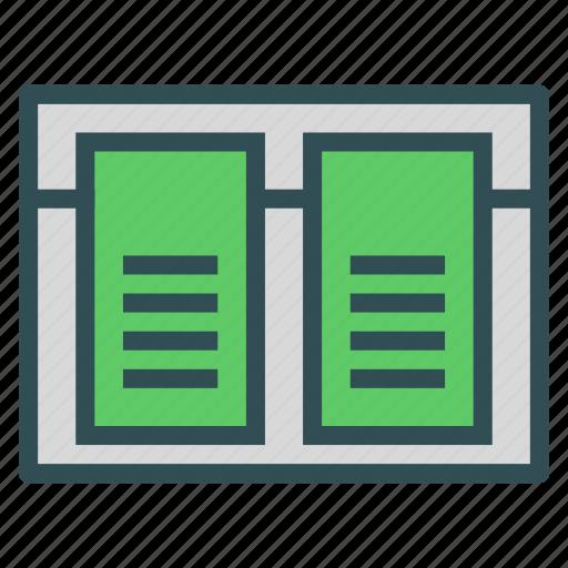 browser, columns, description, two icon
