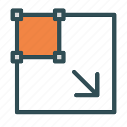 arrow, big, box, edit, scale, tool icon