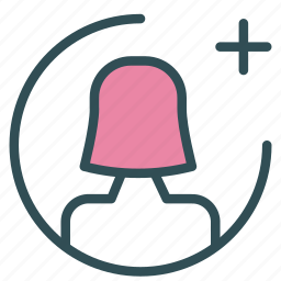add, avatar, female, figure, plus, user icon