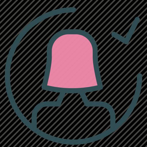 avatar, check, female, figure, ok, user icon