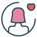 avatar, female, figure, heart, user icon