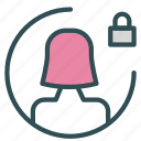 avatar, female, figure, lock, user icon