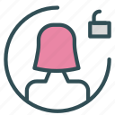 avatar, female, figure, unlock, user icon