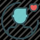 avatar, figure, heart, man, user icon