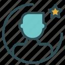 avatar, favorite, figure, man, star, user icon