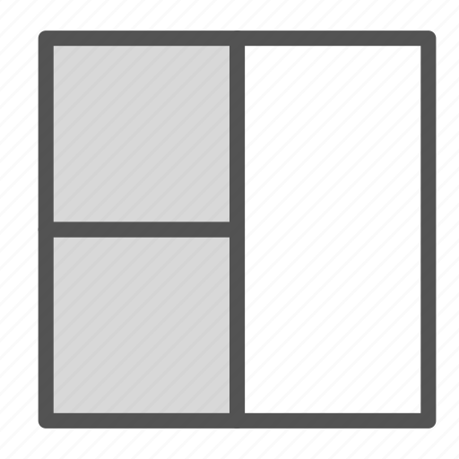 browser, left, partition, square, three, website icon