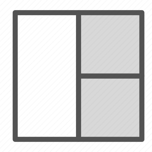 browser, partition, right, square, three, website icon