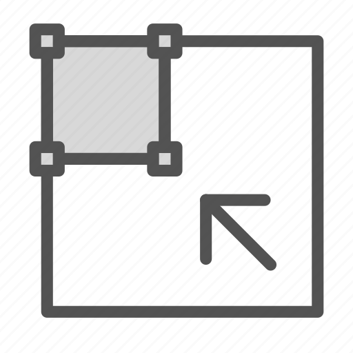 arrow, box, edit, scale, small, tool icon