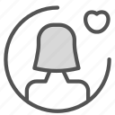 avatar, female, figure, heart, user icon