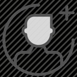 add, avatar, figure, man, plus, user icon