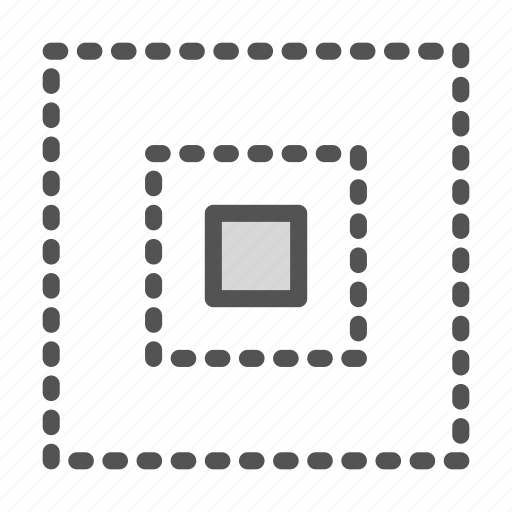 center, dotted, square icon
