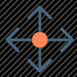 arrow, circle, target icon