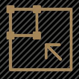 arrow, box, edit, scale, small, tool icon