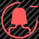 avatar, female, figure, minus, remove, user icon