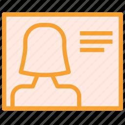 avatar, description, female, figure, profile, user icon