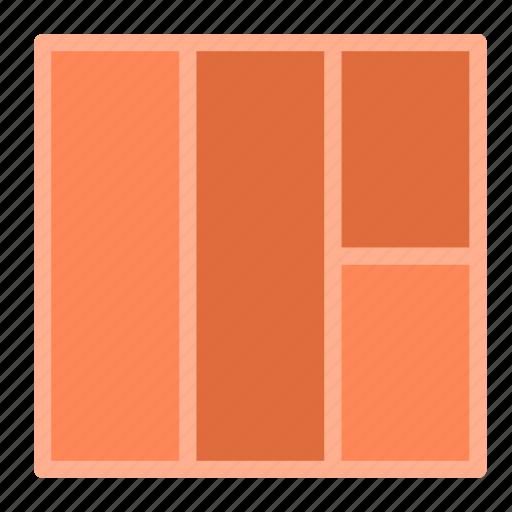 column, four, layout, presentation, right icon