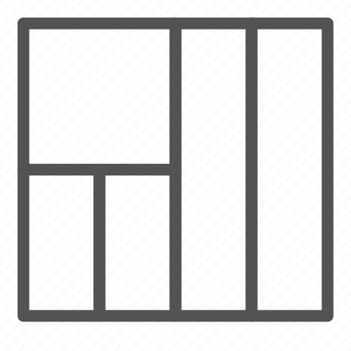 column, layout, left, presentation, square icon