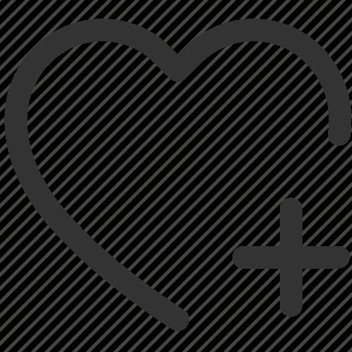 add, heart, like, love, plus, shadies icon