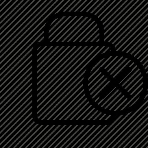cancel, close, exit, lock, padlock, password, remove, security, shield icon