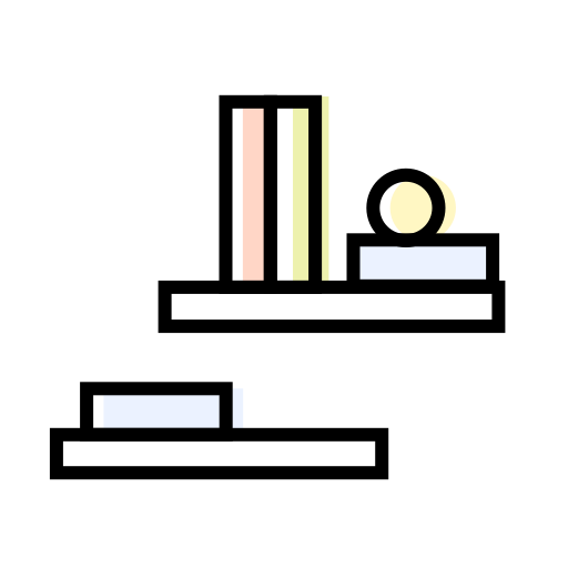 books, decoration, interior, shelves icon