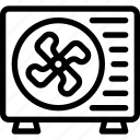 ac, airconditioner, control, fan, outside, unit, wall icon icon