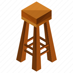 decor, furniture, high, interior, seat, stool, wooden icon