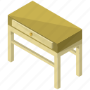 decor, drawer, furnishings, furniture, interior, long, table icon