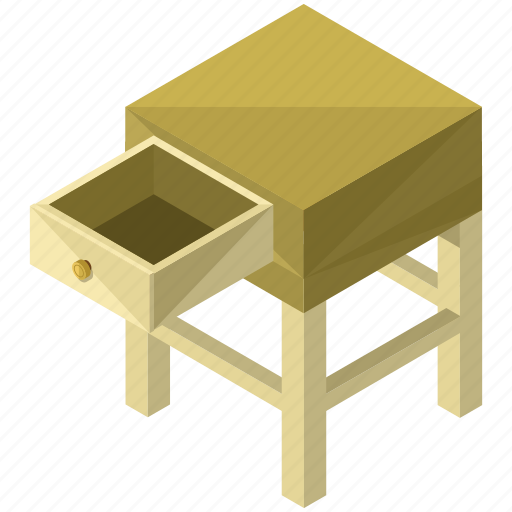 decor, drawer, furnishings, interior, small, table icon